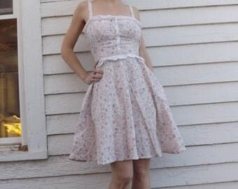 Gunne Sax Mini Dress Floral Print Prairie Summer Sundress XS Vintage 70s