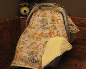 Winnie The Pooh Carseat Canopy - Carseat Cover Winnie the Pooh/Minky- Gender Neutral,, Winnie the Pooh Minky Blanket