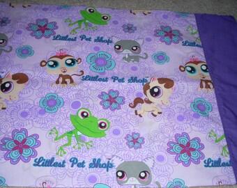 Littlest Pet Shop Pillowcase with purple trim  - Fits Standard and Queen size pillows