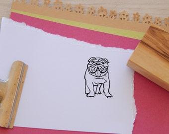 English Bulldog Olive Wood Charity Stamp
