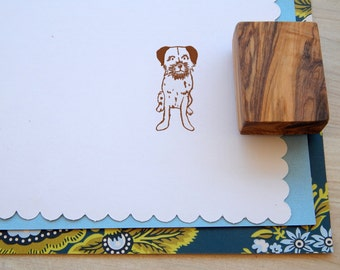 Border Terrier Olive Wood Charity Stamp