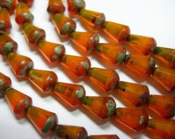 18 Tangerine Orange Opal Picasso Czech Glass Faceted Teardrop Beads 8x5mm