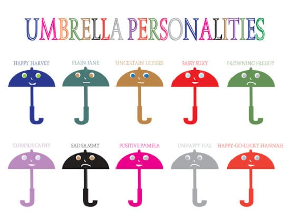 Cartoon Characters Personalities : Items similar to umbrella personalities cartoon character