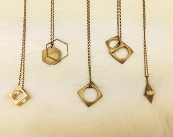 GEOMETRIC CHARM NECKLACES // Brass Mens Necklace Unisex Charm Necklace