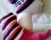 Hat and sock set, pink gift set, purple gift, fairisle hat and sock set, teen/adult beanie set, knitted hat and sock, ready to ship