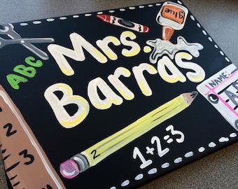 Teacher Gift - Hand Painted  Teacher Door Sign Hanger - elementary Teacher Door Sign -  kindergarten teacher  Sign