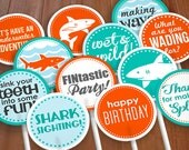 """SHARK 2"""" Cupcake Toppers or Party Circles for Boy Birthday in Aqua Turquoise Blue and Tangerine Orange- Instant Printable Download"""