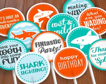 "SHARK 2"" Cupcake Toppers or Party Circles for Boy Birthday in Aqua Turquoise Blue and Tangerine Orange- Instant Printable Download"