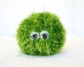 Stuffed toy green wiggle eyes crochet puff ball metalic glitter soft plush faux fur round squishy creature named Meadow not for children