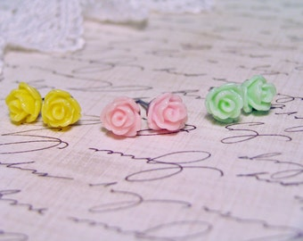Dainty 7.5mm Resin Rose Spring Trio Yellow Pastel Pink Mint Green Set of 3 Surgical Steel Post Earrings