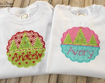 Scalloped Trees Patch Personalized Christmas Shirt,Totally Custom, Many Colors and Fabrics Available