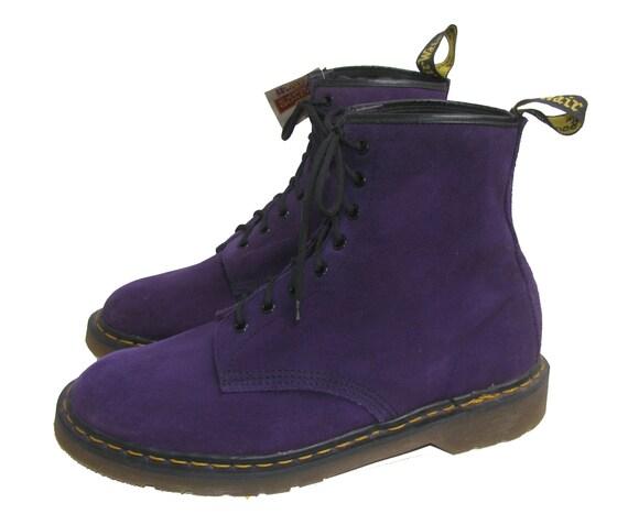 vintage nana dr martens boots mens purple suede eight eyelet