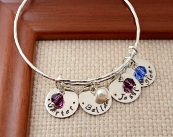 Personalized Expandable Bangle Bracelet,  Mother's Gift, Custom Bracelet, Mom, Mommy