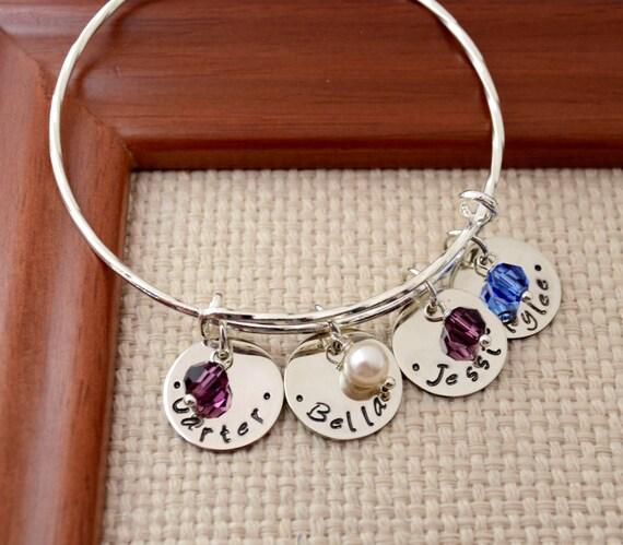 Personalized Expandable Bangle Bracelet,  Mother's Gift, Custom Bracelet, Mom, Mommy