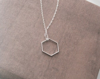 Hexagon Necklace,Geometric Necklace,Geometric Jewelry,Minimalist Necklace,Delicate Necklace,Layering Necklace,Long Necklace,Layer Jewelry