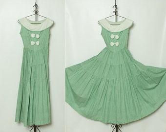 vintage 1930s maxi dress - green gingham print sundress