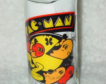 Vintage 1982 Pac Man Glass Tumbler Video Game Bally Midway Inc