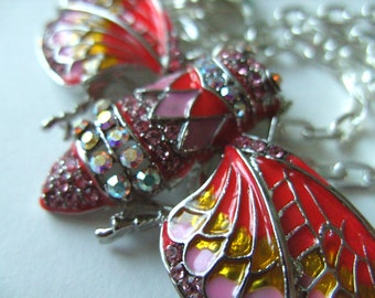 Lovely, Cicada, red, pink, yellow, feature necklace, brooch,neon colours, crystal, by NewellsJewels on etsy
