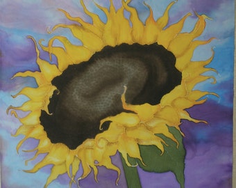 """Large Sunflower Hand Painted Fabric Panel Quilt Block on Cotton 22.5"""""""