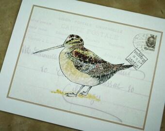 Woodcock Woodland Bird Card, Gamebird with French Ephemera Handmade Greeting Card