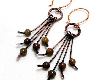 Copper Fringe, Handcrafted Jewelry, Hammered Earrings, Desert Jasper