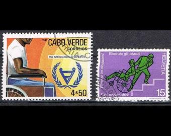 34 Vintage Postage Stamps - Health Care - Disease - Disabled - Handicapped
