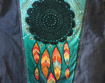 Custom Painted DreamCatcher XL Levi's Denim Jacket with lace doily