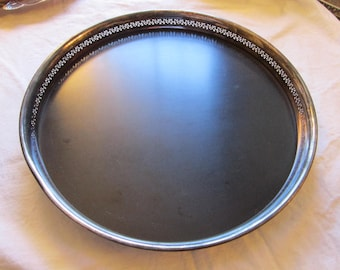 vintage Crescent Silverware bar tray - 13 inches, footed, pierced wall - silver plate - lraz