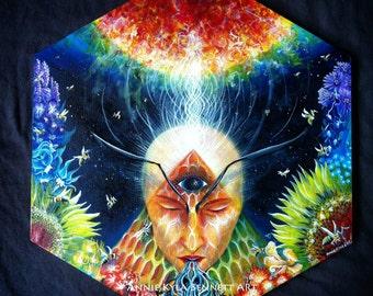 Bee Medicine. Original Visionary Psychedelic Art Print by Annie Kyla Bee. Honeybee Sunflower Queen of the Sun Lavender Ayahuasca Healing Art
