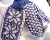 Nordic Periwinkle Blue Hand Knit Wool Mittens