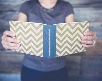 Wedding guest book with gold chevron cover