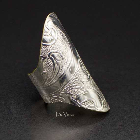 large silver n brass ring metal thumb ring unique ring