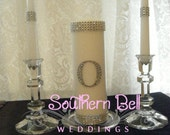 Unity Candle Set BLING COLLECTION Monogram White Wedding Unity Candle Set Elegant Wedding Candle Set