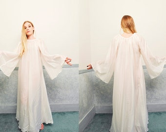 White Silk Organza Chemise Nightgown