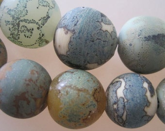 COPPER WOODS Etched - 6 Handmade Lampwork Glass Beads - Inv127-A12