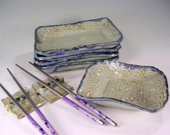 Sushi tray serving set with chopsticks and holders, ceramic sushi plates, pottery dessert tapas plates, stoneware sushi set