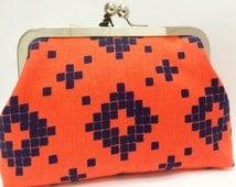 clutch purse - messa  - 6 inch metal frame clutch purse - medium purse -  orange - tile - kiss lock clutch