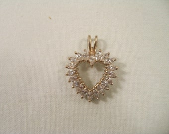 Vintage Absolutely Stunning Sterling Silver Marquis CZ Heart Pendant