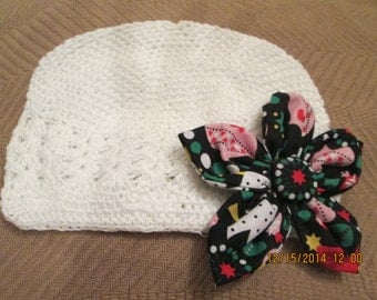 White Christmas Crochet Hat -  White Beanie Hat - Kufi Hat - White Knit Hat