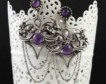 Wire wrapped earring, dangle purple earring, sterling silver jewelry, gemstone jewelry