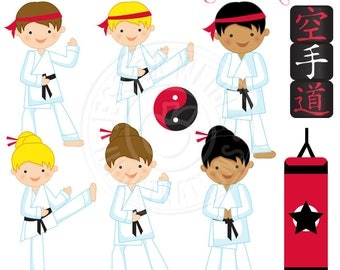 Karate Kids Cute Digital Clipart - Commercial Use Ok - Karate Clipart, Martial Art Clipart, Tae Kwon Do Clipart