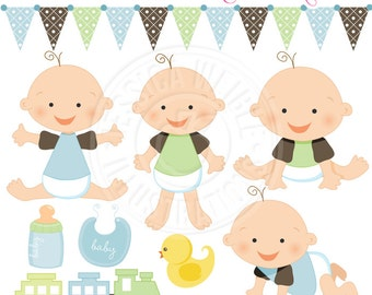 Baby Boy Cute Digital Clipart for Card Design, Scrapbooking, and Web Design, Baby Graphics