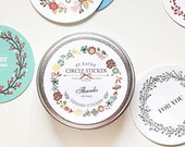 Circle Stickers in Tin Case - Flower Wreath / 48 sheets (2 x 2in)