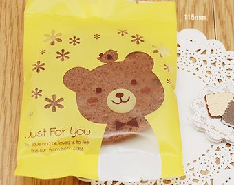 20 Yellow Bear Semitransparent Bags (3.3 x 4.5in)