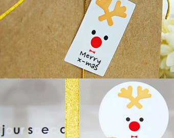 20 Rudolph Christmas Stickers (1.8in / 1.4 x 2in)