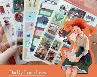 Classic Story Series Stickers - Daddy Long Legs, 5 sheets (3.9 x 6in)