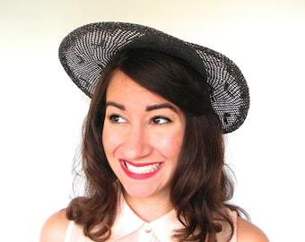 Vintage Hat 40s Navy Straw Wide Brim Hat with Bow Tilt Hat