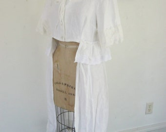 French Sugar Couture 2015 SPRING/SUMMER COLLECTION White Linen Button-down Long Waistcoat  - Altered Couture