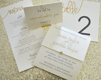 Paige Suite Wedding Day-of Accessories - Program, Menu, Table Number, Escort & Place Cards