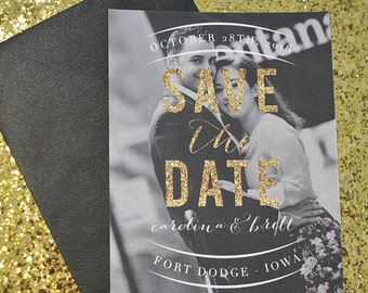 Gold Glitter Photo Save the Date